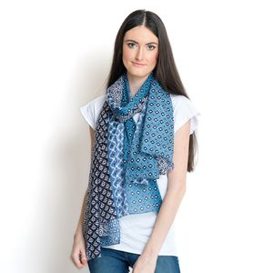 J Francis - Blue 100% Cotton Scarf (70x39 in)