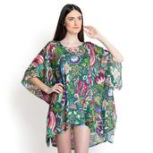Green Paisely and Flower Print 100% Viscose Poncho (35x26 in)