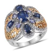 Himalayan Kyanite, Tanzanite, White Topaz 14K YG and Platinum Over Sterling Silver Ring (Size 7.0) TGW 5.10 cts.