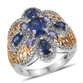 Himalayan Kyanite, Tanzanite, White Topaz 14K YG and Platinum Over Sterling Silver Ring (Size 8.0) TGW 5.10 cts.