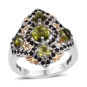 Vesuvianite, Thai Black Spinel 14K YG and Platinum Over Sterling Silver Openwork Ring (Size 8.0) TGW 4.950 cts.