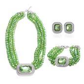 Green Glass, White Austrian Crystal Silvertone Bracelet (7.50 in), Earrings and Necklace TGW 630.000 cts.