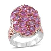 Madagascar Pink Sapphire 14K RG Over and Sterling Silver Oval Cluster Ring (Size 7.0) TGW 4.560 cts.