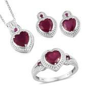 Niassa Ruby, Ruby Platinum Over Sterling Silver Heart Earrings, Ring (Size 7) and Pendant With Chain (20 in) TGW 8.360 cts.