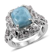 Larimar, White Topaz Platinum Over Sterling Silver Ring (Size 9.0) TGW 7.800 cts.