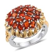 Jalisco Fire Opal 14K YG and Platinum Over Sterling Silver Ring (Size 8.0) TGW 2.880 cts.
