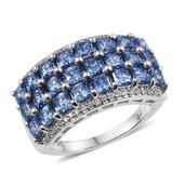 J Francis - Platinum Over Sterling Silver Ring Made with Blue and White SWAROVSKI ZIRCONIA (Size 5.0) TGW 7.800 cts.