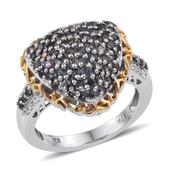Bekily Color Change Garnet, White Zircon 14K YG and Platinum Over Sterling Silver Ring (Size 6.0) TGW 2.220 cts.