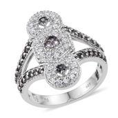 Bekily Color Change Garnet, White Zircon Platinum Over Sterling Silver Elongated Split Ring (Size 7.0) TGW 1.80 cts.