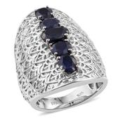 Kanchanaburi Blue Sapphire Platinum Over Sterling Silver Elongated Engraved Ring (Size 6.0) TGW 6.09 cts.