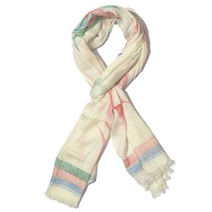 J Francis - Red, Blue and Green Floral and Striped Hand Painted 100% Modal Scarf (72x28 in)