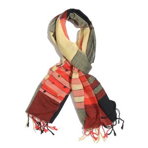 J Francis - Multi Color Red and Black 100% Viscose Scarf with Fringe (72x22 in)
