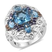 Swiss Blue Topaz, Tanzanite 14K YG and Platinum Over Sterling Silver Ring (Size 8.0) TGW 8.040 cts.
