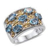 Swiss Blue Topaz 14K YG and Platinum Over Sterling Silver Ring (Size 9.0) TGW 4.100 cts.