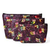Set of 3 Brown Multi Color Owl Pattern Cosmetic Bags (11x8 in)