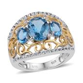 Swiss Blue Topaz, White Topaz 14K YG and Platinum Over Sterling Silver Openwork Trilogy Ring (Size 6.0) TGW 3.600 cts.