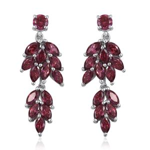 J Francis - Platinum Over Sterling Silver Dangle Earrings Made with Red SWAROVSKI ZIRCONIA TGW 6.60 cts.