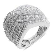 Diamond Platinum Over Sterling Silver Openwork Ring (Size 6.5) TDiaWt 1.00 cts, TGW 1.000 cts.