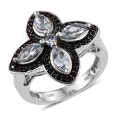 Espirito Santo Aquamarine, Thai Black Spinel Platinum Over Sterling Silver Ring (Size 7.0) TGW 1.860 cts.
