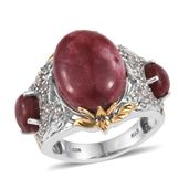 Norwegian Thulite, White Topaz 14K YG and Platinum Over Sterling Silver Ring (Size 7.0) TGW 17.200 cts.
