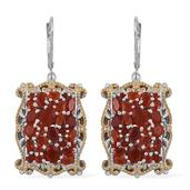 Jalisco Fire Opal 14K YG and Platinum Over Sterling Silver Lever Back Earrings TGW 3.810 Cts.