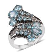Cambodian Blue Zircon, Thai Black Spinel, White Topaz Platinum Over Sterling Silver Elongated Bypass Ring (Size 7.0) TGW 7.300 cts.