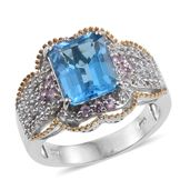 Swiss Blue Topaz, Madagascar Pink Sapphire, White Topaz 14K YG and Platinum Over Sterling Silver Ring (Size 7.0) TGW 6.61 cts.