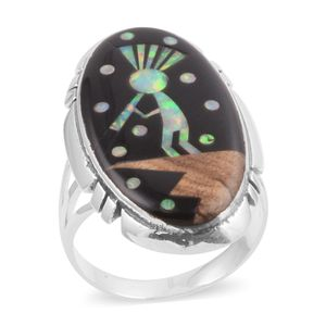 Santa Fe Style Black Onyx, Lab Created Opal, Picture Jasper Sterling Silver Elongated Indian Kokopelli Ring (Size 9.0) TGW 29.350 cts.
