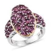 Orissa Rhodolite Garnet 14K YG and Platinum Over Sterling Silver Ring (Size 7.0) TGW 4.820 cts.