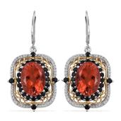 Sunfire Quartz, Thai Black Spinel 14K YG and Platinum Over Sterling Silver Lever Back Earrings TGW 15.85 cts.