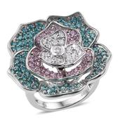 J Francis - Platinum Over Sterling Silver Floral Ring Made with Multi Color SWAROVSKI ZIRCONIA (Size 5.0) TGW 6.820 cts.