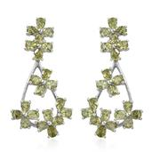 Hebei Peridot Platinum Over Sterling Silver Floral Drop Earrings TGW 7.500 Cts.