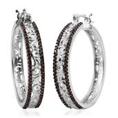 Red Diamond (IR) Platinum Over Sterling Silver Openwork Earrings TDiaWt 0.75 cts, TGW 0.750 cts.