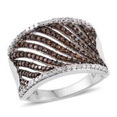 Red Diamond (IR), Diamond Platinum Over Sterling Silver Openwork Ring (Size 8.0) TDiaWt 0.75 cts, TGW 0.750 cts.