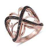 Red Diamond (IR) 14K RG Over Sterling Silver Openwork Ring (Size 10.0) TDiaWt 0.50 cts, TGW 0.500 cts.