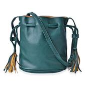 J Francis - Forest Green Faux Leather Bucket Bag with Tassels (7.5x5x8 in)