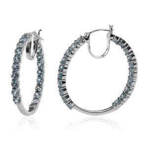Cambodian Blue Zircon Platinum Over Sterling Silver Inside Out Hoop Earrings TGW 11.20 cts.