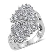 J Francis - Platinum Over Sterling Silver Bypass Ring Made with SWAROVSKI ZIRCONIA (Size 8.0) TGW 4.00 cts.
