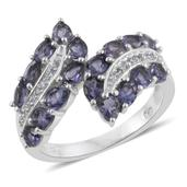 Catalina Iolite, White Topaz Platinum Over Sterling Silver Bypass Ring (Size 7.0) TGW 2.58 cts.