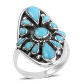 Santa Fe Style Turquoise Sterling Silver Elongated Ring (Size 6.0) TGW 4.90 cts.