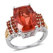 Sunfire Quartz, Jalisco Fire Opal 14K YG and Platinum Over Sterling Silver Ring (Size 7.0) TGW 11.60 cts.