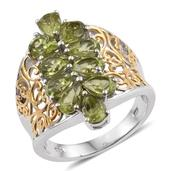 Hebei Peridot 14K YG and Platinum Over Sterling Silver Ring (Size 7.0) TGW 4.20 cts.