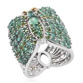 Kagem Zambian Emerald, Russian Diopside 14K YG and Platinum Over Sterling Silver Wide Openwork Band Ring (Size 7.0) TGW 3.920 cts.