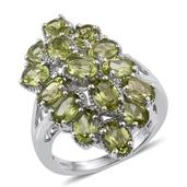 Hebei Peridot Platinum Over Sterling Silver Elongated Split Ring (Size 8.0) TGW 6.55 cts.