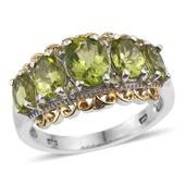 Hebei Peridot 14K YG and Platinum Over Sterling Silver Ring (Size 7.0) TGW 4.320 cts.
