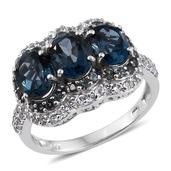 London Blue Topaz, Bekily Color Change Garnet, White Topaz Platinum Over Sterling Silver Ring (Size 9.0) TGW 6.240 cts.
