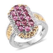 Pink Tourmaline, White Zircon 14K YG and Platinum Over Sterling Silver Openwork Ring (Size 8.0) TGW 2.500 cts.