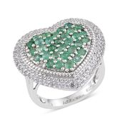 Kagem Zambian Emerald, White Topaz Platinum Over Sterling Silver Ring (Size 8.0) TGW 3.250 cts.