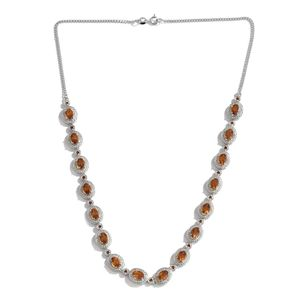 Santa Ana Madeira Citrine, Mozambique Garnet Platinum Over Sterling Silver Princess Necklace (18 in) TGW 7.50 cts.