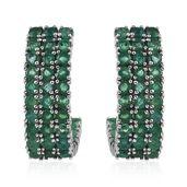 Kagem Zambian Emerald Platinum Over Sterling Silver J-Hoop Earrings TGW 9.00 Cts.